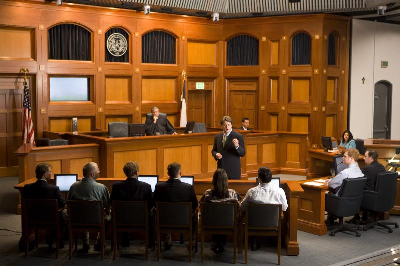 The courtroom at St. Mary's University.