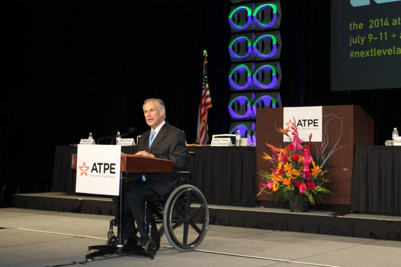 Greg Abbott addresses the ATPE conference in Austin on Thursday, July 10.