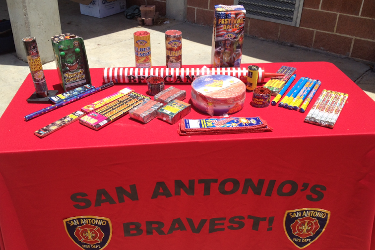 The Fire Department displays some of the types of fireworks that are illegal in the city limits