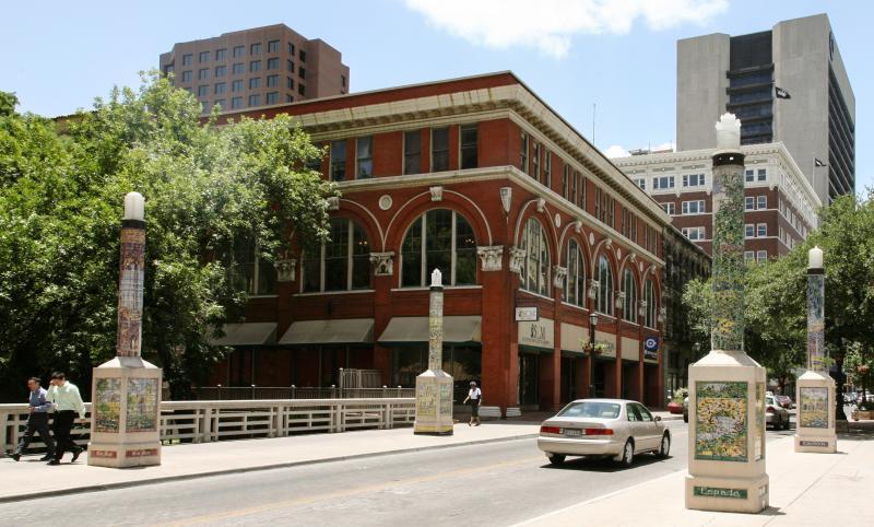 Wide shot of Houston Street Bridge