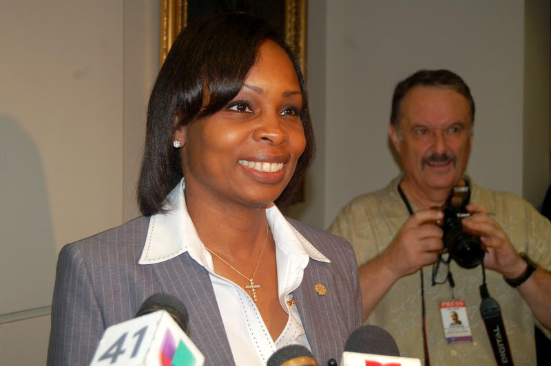 Mayor Ivy Taylor addresses the media after the council meeting.