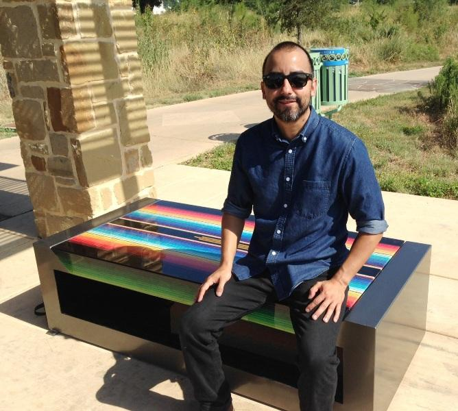 Vincent Valdez and one of his benches.