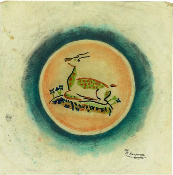 Ceramic Plate with Deer