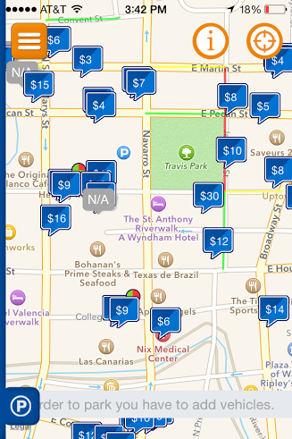 A screen shot of the Pango Parking app with a portion of downtown San Antonio and its parking lots