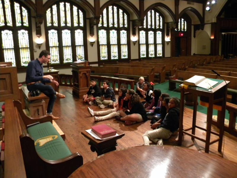 Prior to his concert, Christopher Houlihan talked about organ music with afterschool kids at Laurel Heights United Methodist Church.