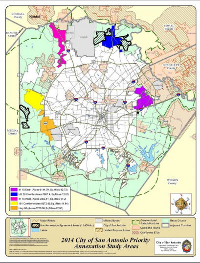 An early map of the proposed annexation areas.