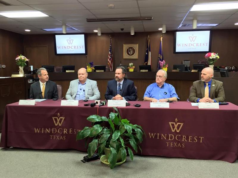 (Left to right) Alamo Heights Mayor Louis Cooper, Windcrest EDC President Tim Maloney, Windcrest Mayor Alan Baxter, Olmos Park Mayor Kenneth Farrimound, and Hollywood Park Mayor Chris Fails meet at Windcrest City Hall to state their support of Uber