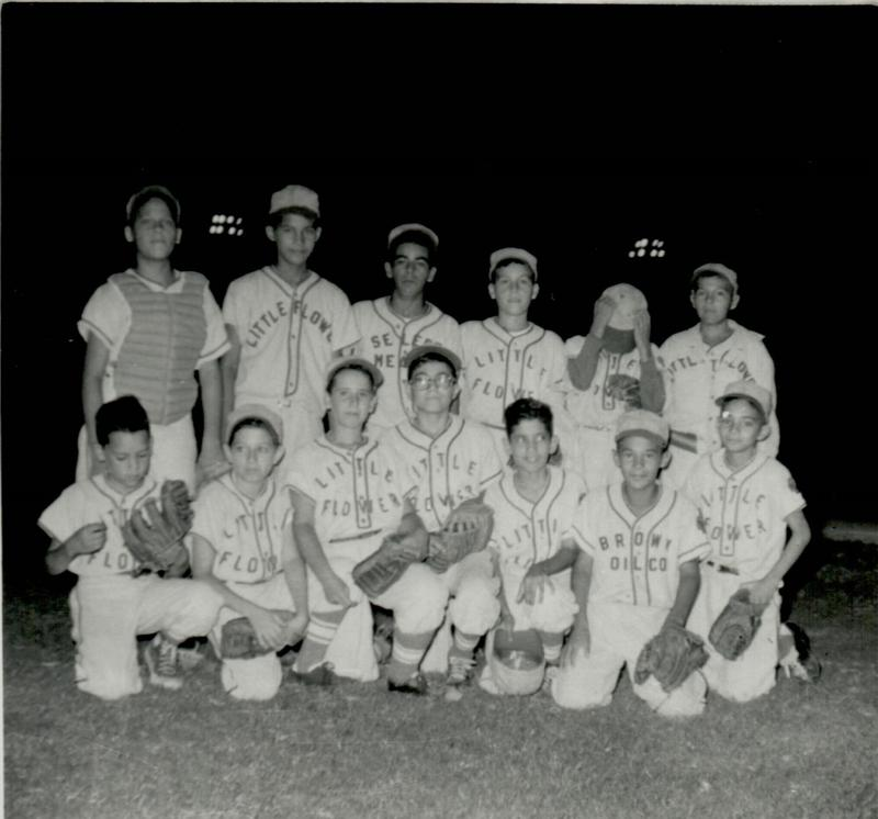 San Antonio had extensive little league participation by Mexican American communities represented by the numerous Catholic Youth Organization (CYO) teams.  This is a shot of the Little Flower team that was part of the Little Flower Basilica organization.