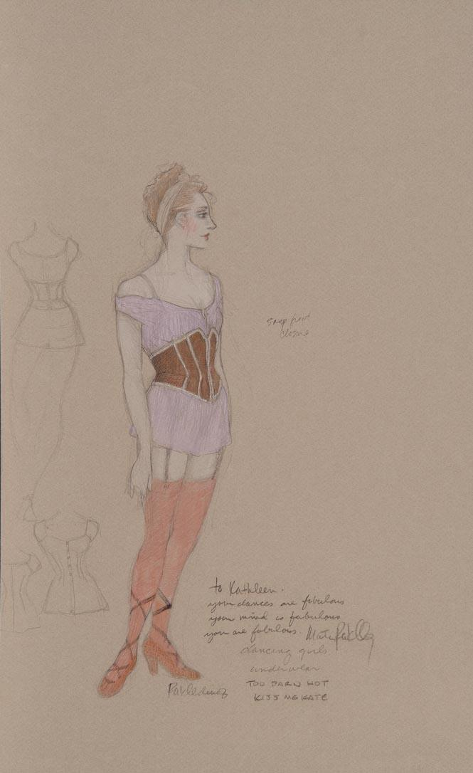Martin Pakledinaz Costume design for ensemble in Too Darn Hot, Act II, in Kiss Me, Kate   ca. 1999 Graphite, ink, and colored pencil on paper