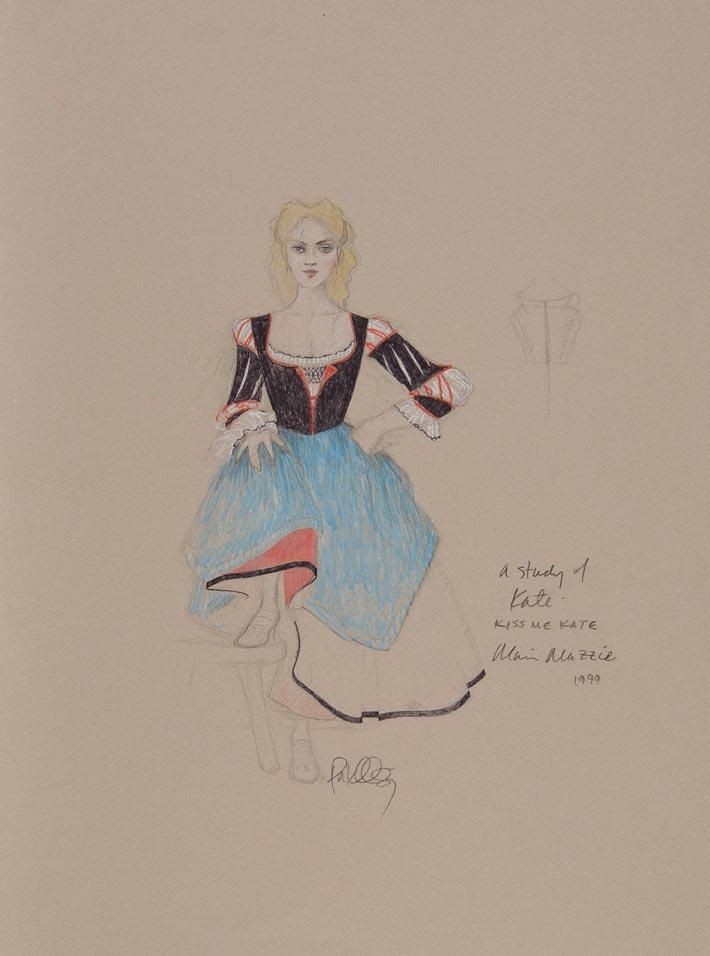 Martin Pakledinaz Costume design for Katharine in I Hate Men, Act I, in Kiss Me, Kate   1999 Graphite and colored pencil on paper