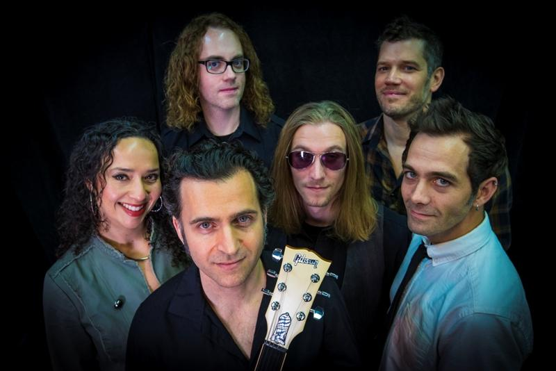 Dweezil Zappa, front and center, with his band