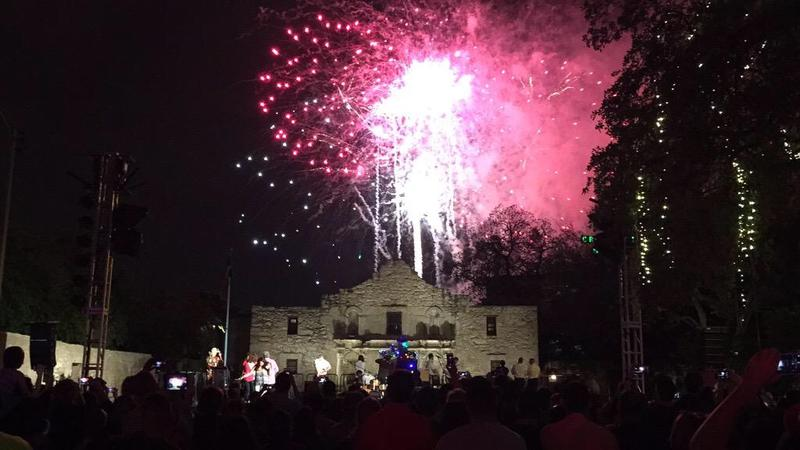 Fireworks above the Alamo open Fiesta 2015.