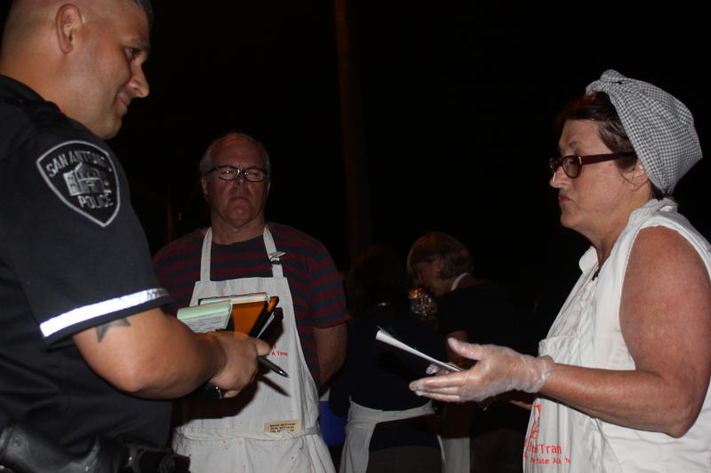 San Antonio Chef Joan Cheever receives a citation from the San Antonio Police for not have the proper permit while feeding the homeless.
