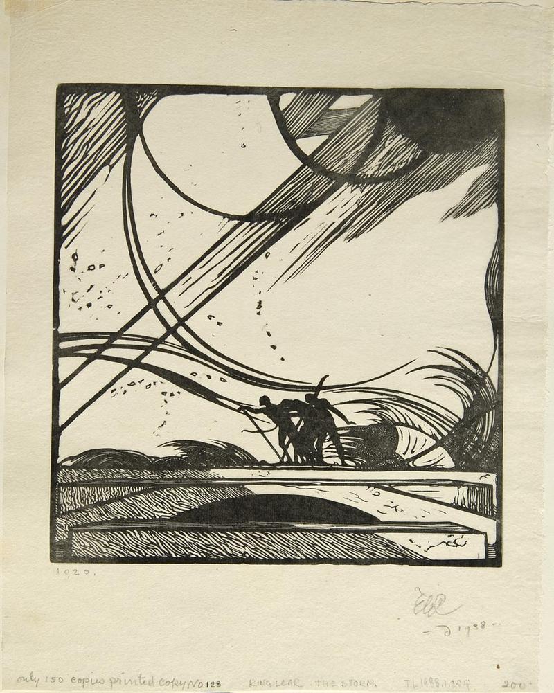 Edward Gordon Craig The Storm in King Lear   1920 Woodcut