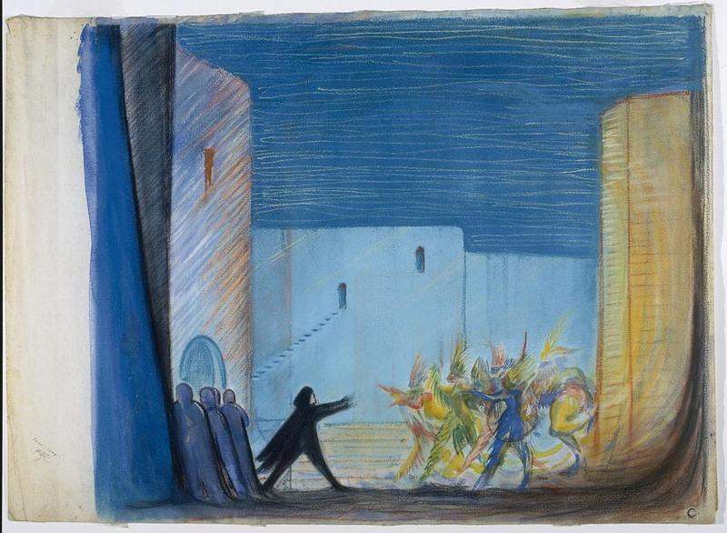 Edward Gordon Craig Scene design for Hamlet greeting the actors (players), Act III, in Hamlet   1926 Watercolor and pastel on paper