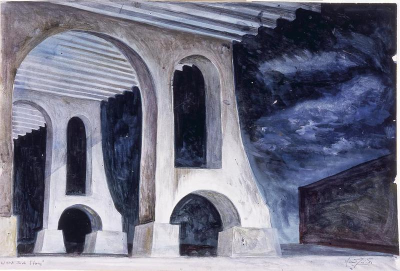 Oliver Smith Scene design for Under the Highway in West Side Story   1957 Watercolor and graphite on paper