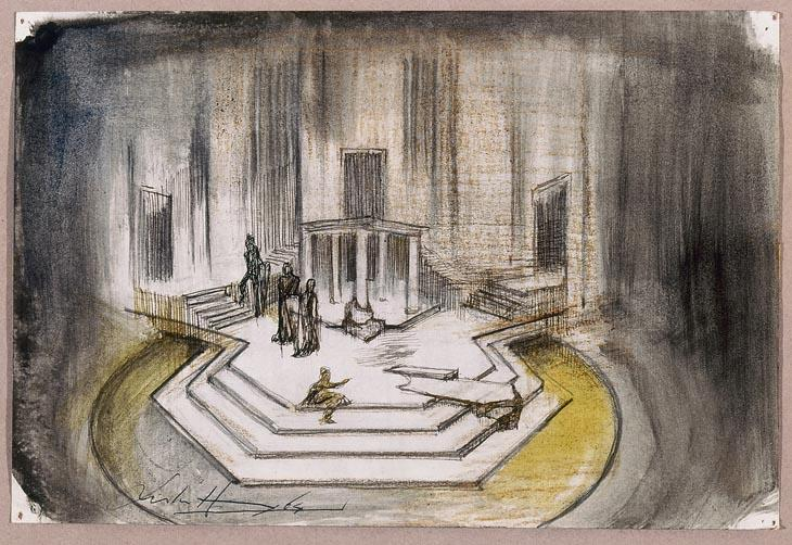Leslie Hurry View of the stage for King Lear at the Stratford Festival   1964 Watercolor, graphite and ink on paper