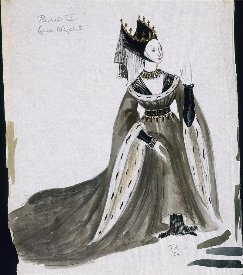Tanya Moiseiwitsch Costume design for Betty Leighton as Queen Elizabeth in Richard III   1953 Watercolor, graphite, and metallic paint on paper