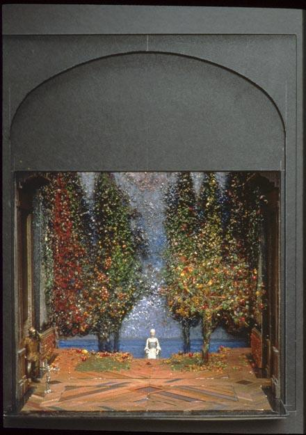 Timothy O'Brien Maquette for Twelfth Night   ca. 1991 Painted wood, board, and flocked paper, with wire, beads, and found objects
