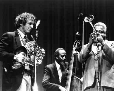 David Amram, with Percy Heath and Dizzy Gillespie, 1986