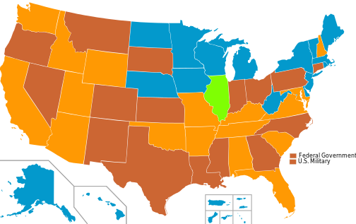 Usage of lethal injection in the U.S. by state. Brown: State uses only this method. Orange: State uses this primarily but has others. Green: State once used this, but doesn't now. Blue: State has never used this method.