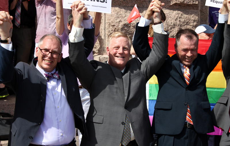 Same-sex marriage SCOTUS plaintiff, Jim Obergefell and Plaintiffs in Texas case, Mark Phariss and Vic Holmes