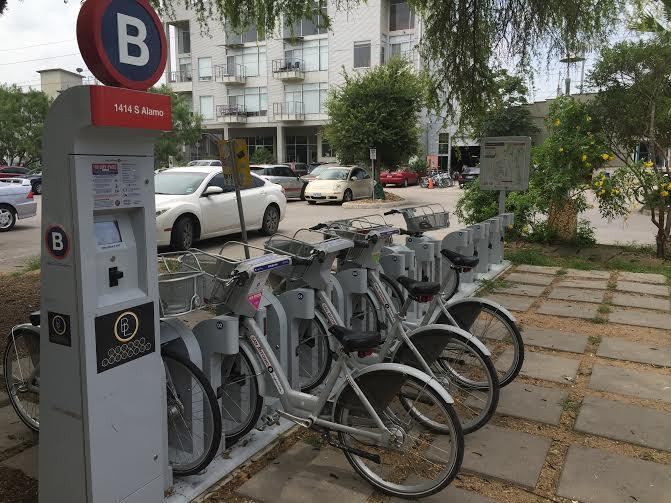 B Cycle in front of Blue Star Contemporary