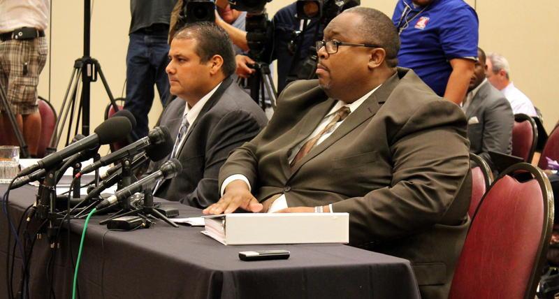 John Jay Principal Robert Harris and Head Football Coach  Gary Gutierrez