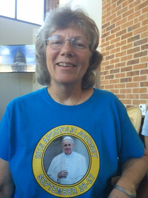 Sister Laura Leming wore a shirt commenmorating Pope Francis' visit as she watched his address to Congress.