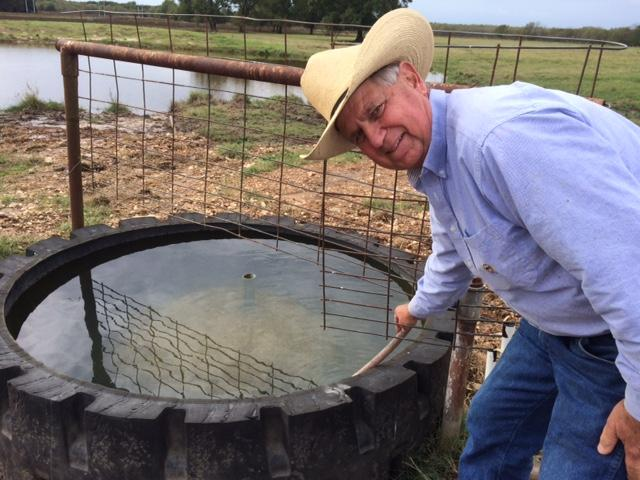 Gabbo Goetsch and artesian well he uses to provide water for his cattle.