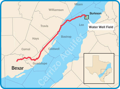 The Vista Ridge pipeline would transport water 142 miles from  Burleson County to San Antonio.