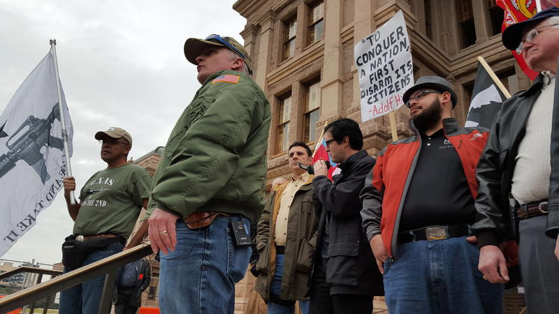 CJ Grisham, president of Open Carry Texas at the State Capitol.