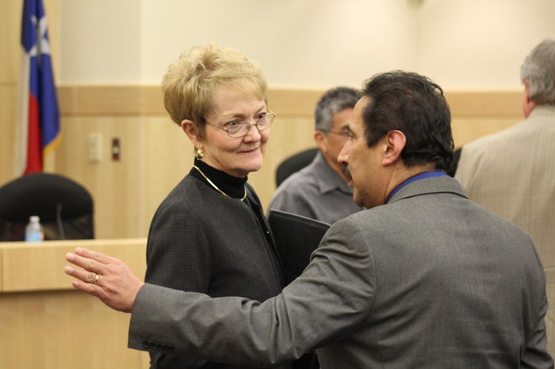 Judy Castleberry at a South San board meeting while serving as the district's conservator.