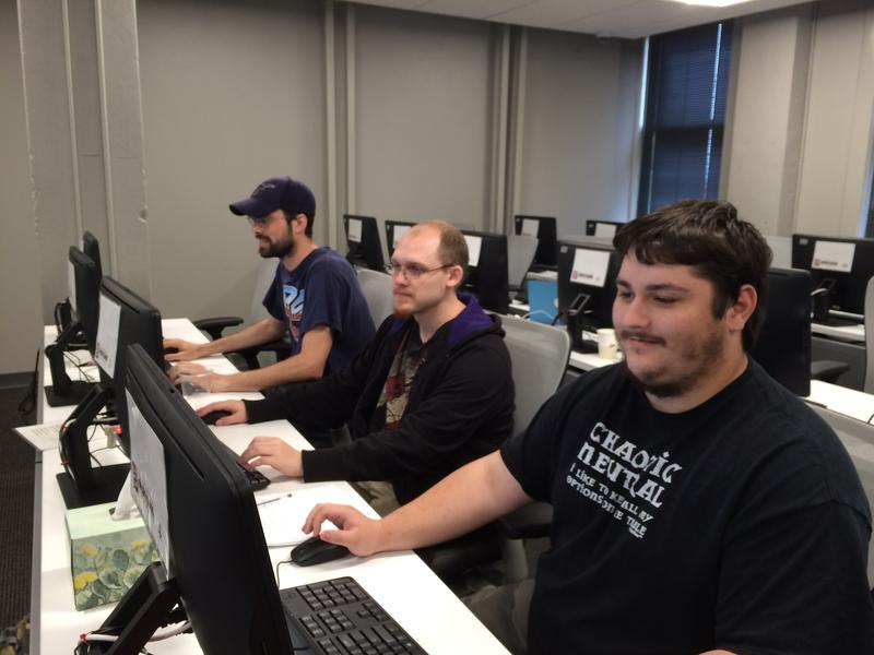 From the left: David Riggs, Will Brau and Zach Hall are pursuing I-T certification through a program at the Open Cloud Academy.