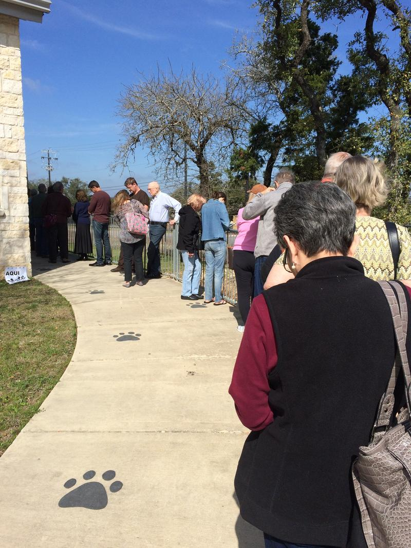 Voters lined up at Timberwood Park Elementary School this afternoon.