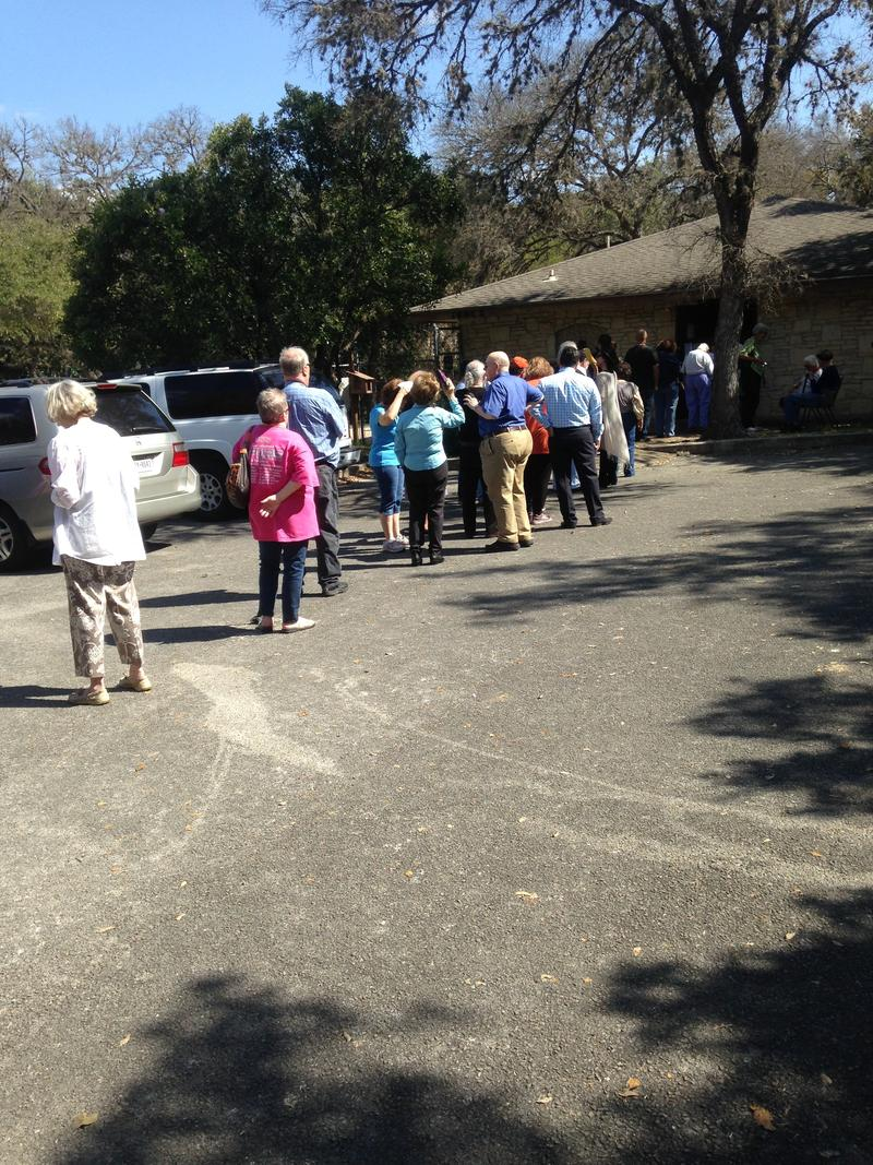 The line to vote at Kings Grant Club House is out the door and moving slowly.