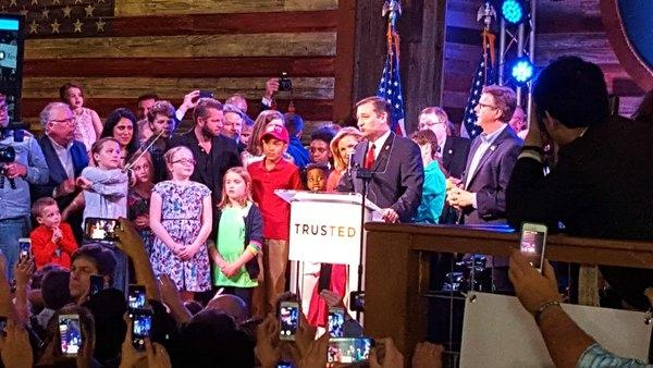 Sen. Ted Cruz addresses the crowds at the The Redneck Country Club after wins in Texas and Oklahoma.