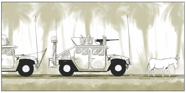 The white donkey who first appeared stopping a convoy in its tracks, shows up again at key moments in the graphic novel.