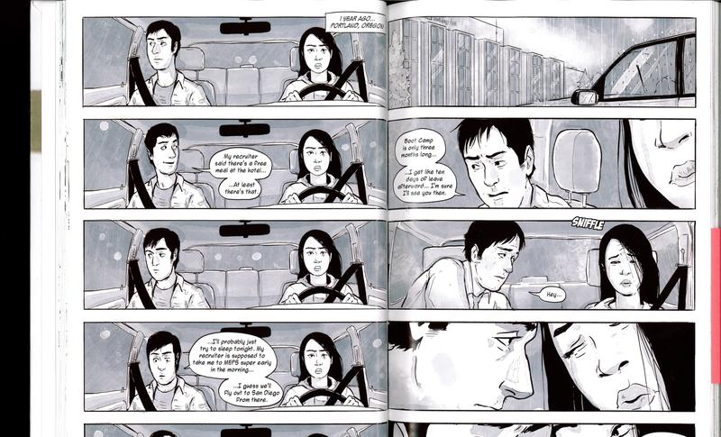 In the graphic novel, the main character Abe has a relationship with a woman named Jen. That storyline takes place in Oregon and pages are awash in blue.