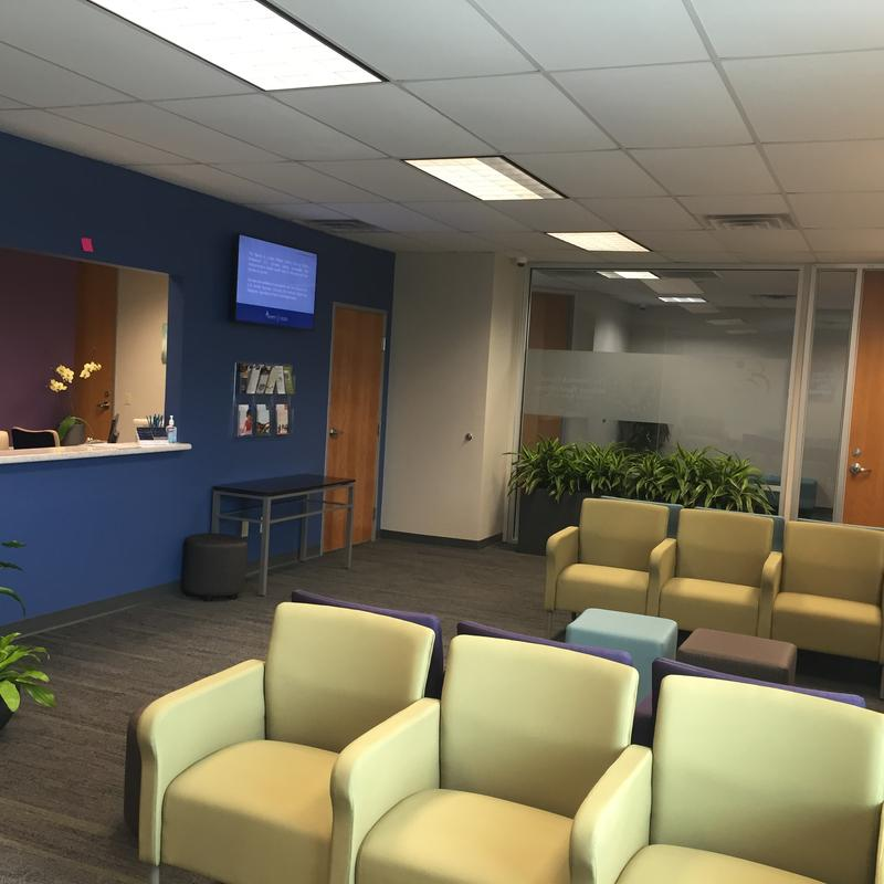 The waiting room at the Steven A. Cohen Military Family Clinic at family Endeavors, Inc.