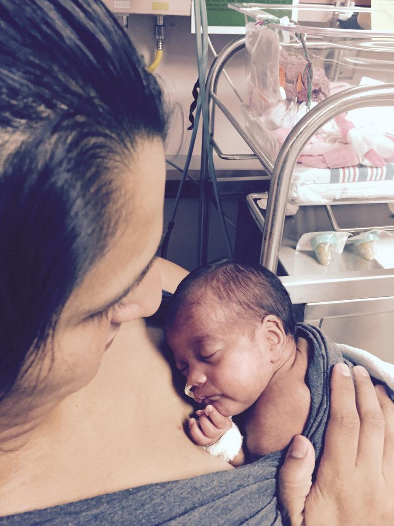 Yolanda Aldana holds her baby in the Kangaroo Care position at University Hospital.