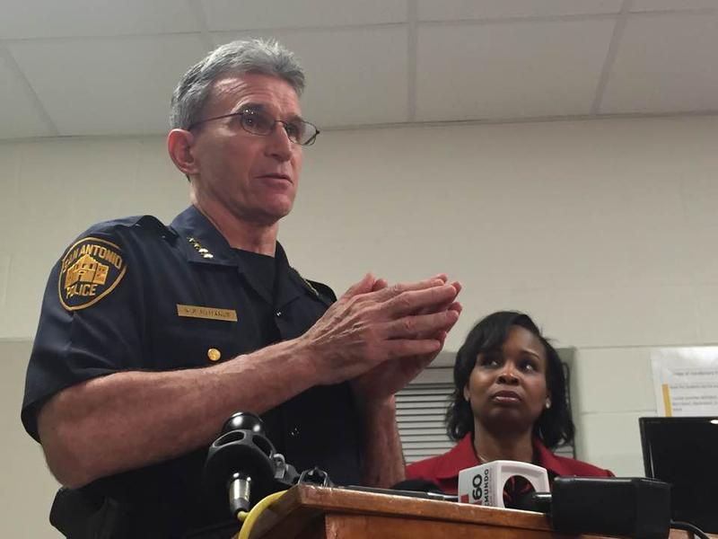 SAPD Chief William McManus and Mayor Ivy Taylor speak to reporters after a closed-door meeting
