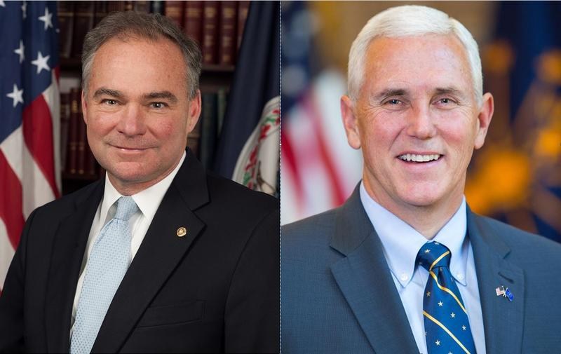 Democratic candidate Tim Kaine and Republican candidate Mike Pence