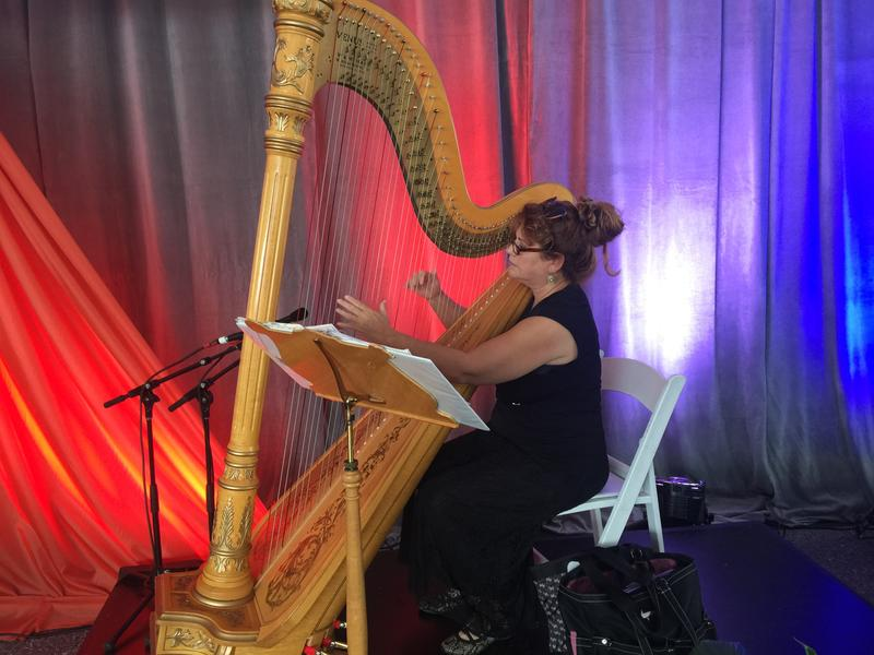 A harpist entertained the crowd at today's announcement.