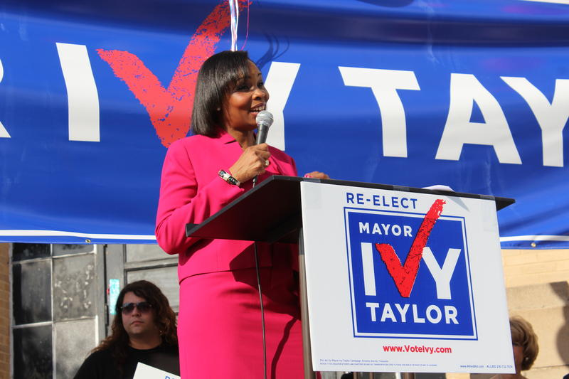 San Antonio Mayor Ivy R. Taylor addresses supporters at her re-election kickoff at CAST Tech High School on the northern end of downtown.