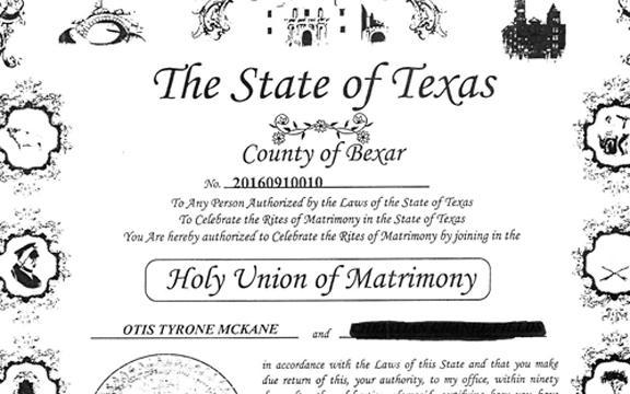 Bexar County Marriage License, TX