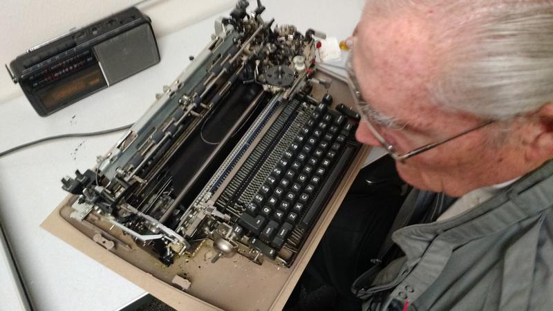 Don Spring works on an IBM Selectric 2