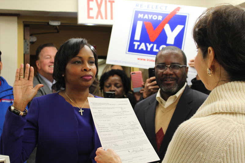 San Antonio Mayor Ivy Taylor recites an oath affiming her application to run for re-election.