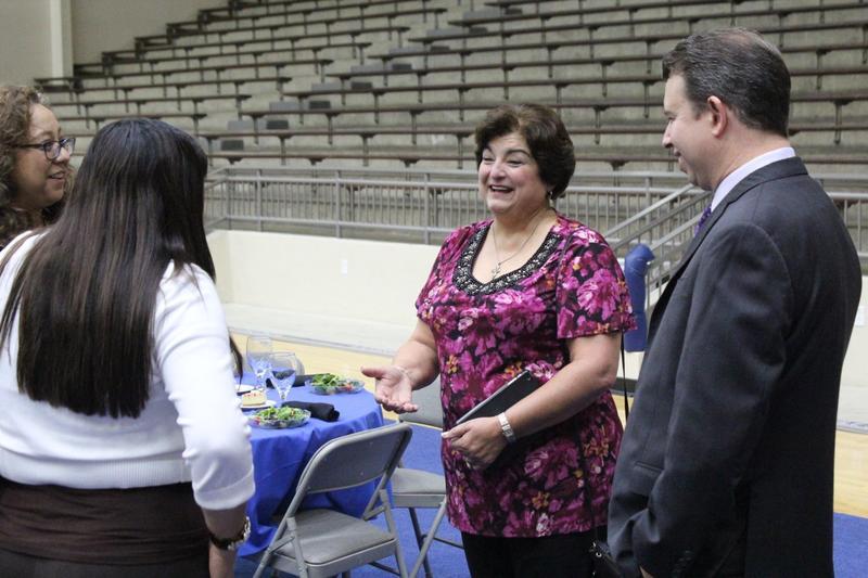 Olga Hernandez, District 6 trustee, at new principal luncheon