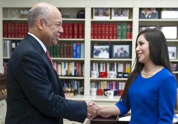 Ana Zamora (right) with then-Homeland Security Secretary Jeh Johnson in 2015.